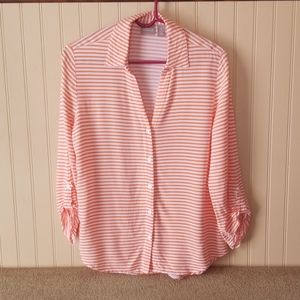 Chicos striped blouse size 0 size 4 orange white